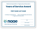 Years of Service Certificate - click to view larger image